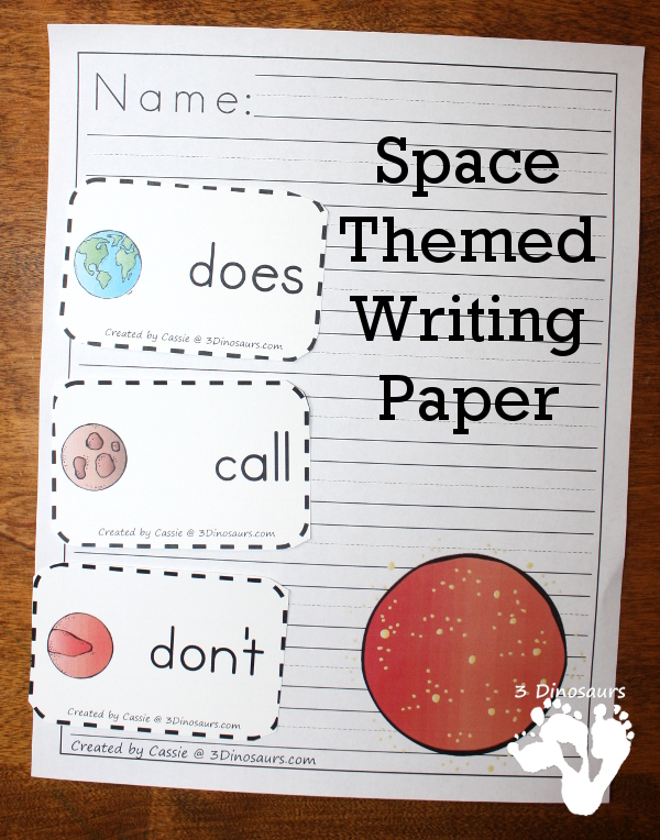 Writing paper with picture space