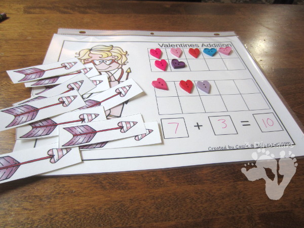 FREE Hands-On Valentines Themed Addition & Subtraction Mats - two mats with counters for ten frame and arrows for cupid - 3Dinosaurs.com
