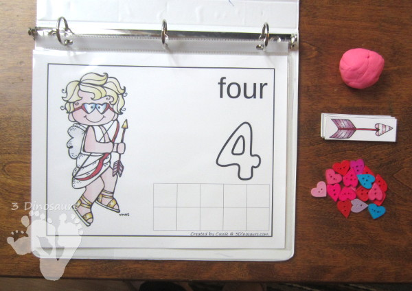 FREE Easy to Use Hands-On Valentines Counting Mats: numbers 1 to 10 with ten frames and counting items - 3Dinosaurs.com