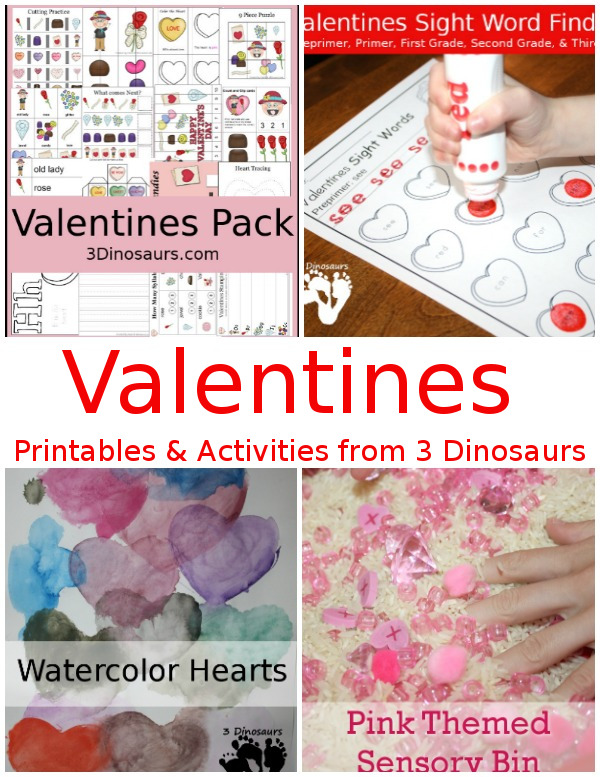 Valentines Activites from 3 Dinosaurs - a collection of printables, activities and crafts