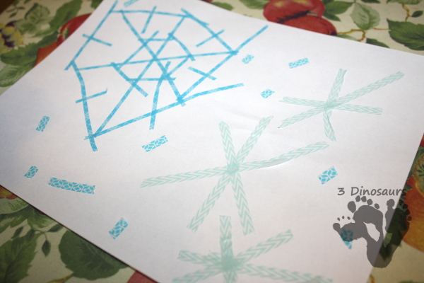 Easy Fine Motor Washi Tape Snowflakes - 3Dinosaurs.com