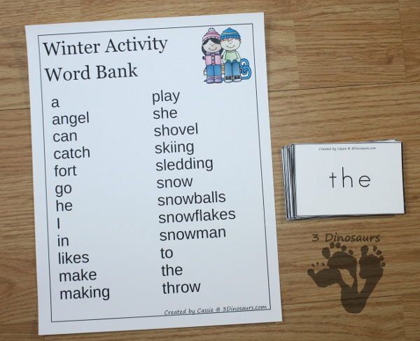 Fun Easy Reader Books With Winter Themes - 6 different books with reading strips, writing and word charts to use with the easy reader books $ - 3Dinosaurs.com