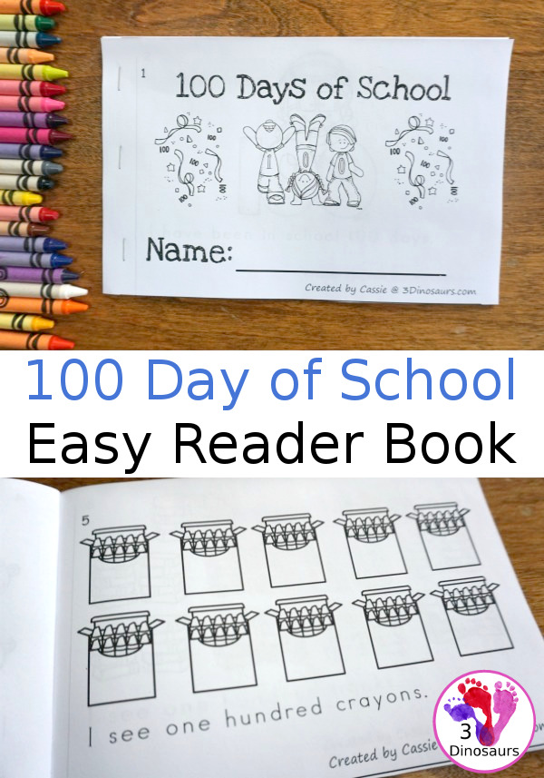 Free 100 Days of School Book Easy Reader Book - 8 page book with ways to count to 100 - 3Dinosaurs.com
