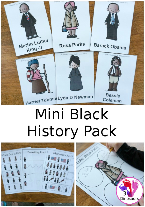 Free Mini Black History Month Pack with over 30 pages of activities for kids preshool to first grade - 3Dinosaurs.com #blackhistory #freeprintables #printablesforkids