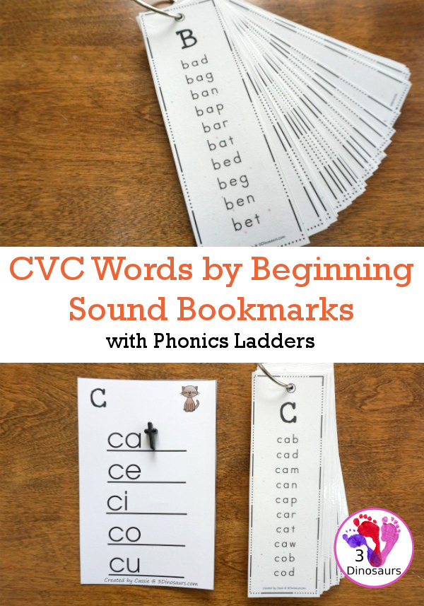 CVC Words By Beginning Sound Bookmarks - A fun way to work on building words with different types words that are similar in easy to use bookmarks and matching phonics ladders to use with the bookmarks - 3Dinosaurs.com #teacherspayteachers #phonicsforkids #learningtoread #cvcwords