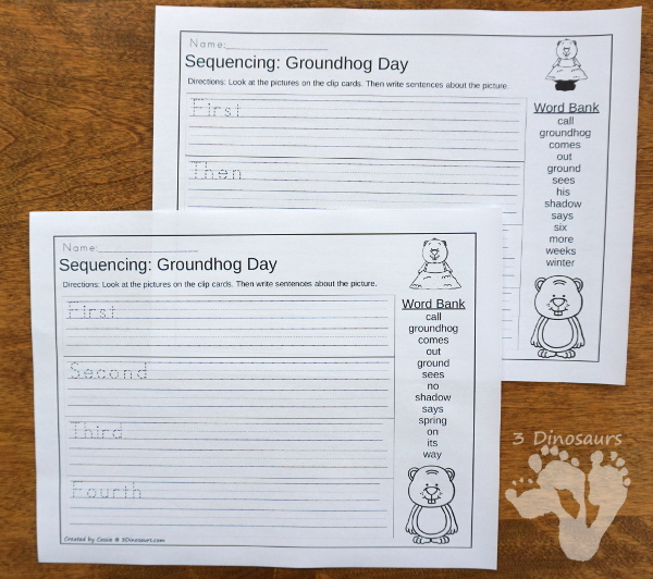 Groundhog Day Sequencing Set -  with clip cards, task cards, no-prep worksheets and easy reader books $ - 3Dinosaurs.com #printablesforkids #sequencingforkids #groundhogday #winterprintables #tpt #teacherspayteachers