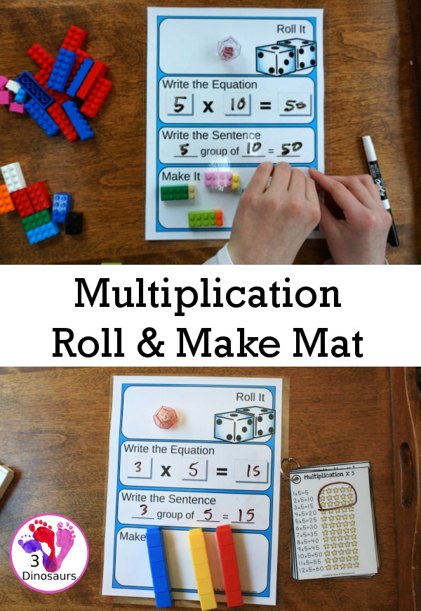 Free Multiplication Roll & Make Mat - 16 pages of pritnables with record sheets, building mats and counters - 3Dinosaurs.com