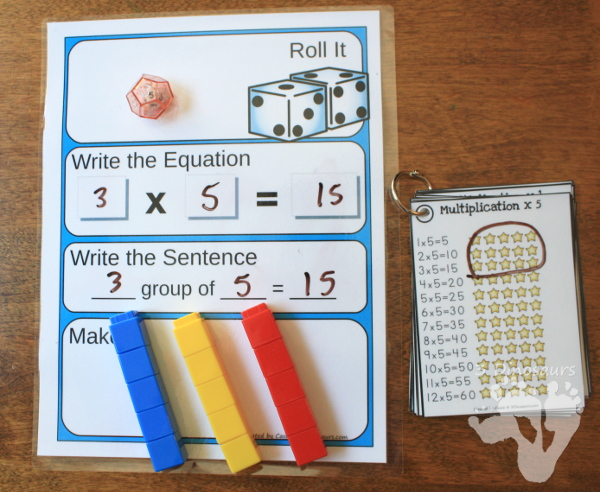 Free Multiplication Roll & Make Mat - 16 pages of printable with record sheets, building mats and counters - 3Dinosaurs.com