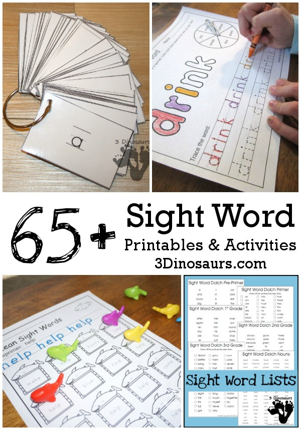 65+ Sight Word Printables & Activities - a huge collection of cards, sight word packs, easy reader books, single page activities, hands-on and more - 3Dinosaurs.com #sightwords #learningtoread #printablesforreading