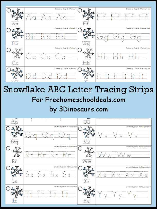 Free Winter Theme ABC Tracing Strips - with uppercase and lowercase together - 3Dinosaurs.com
