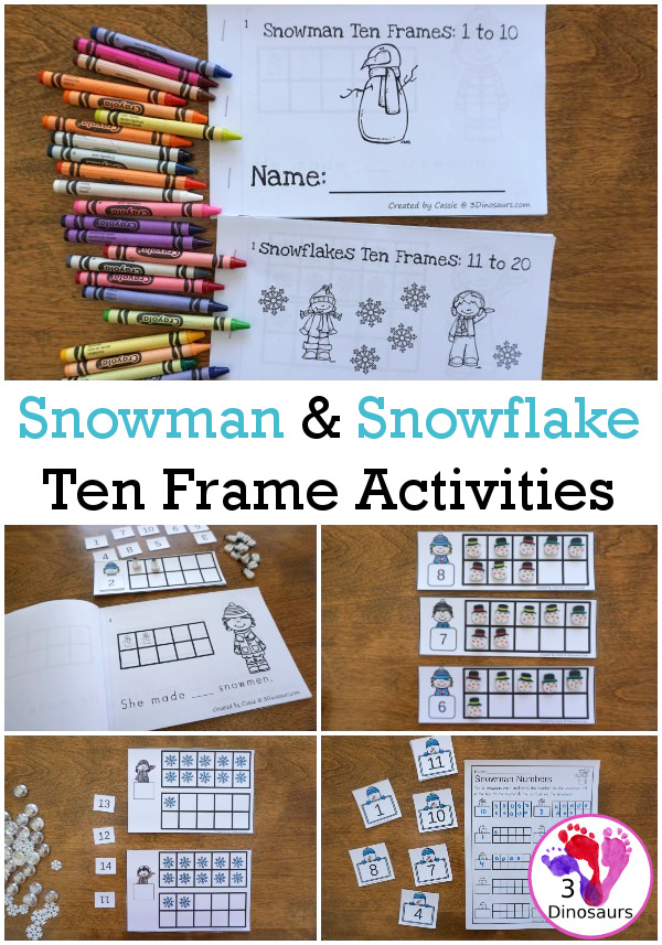 Snowman & Snowflake Themed Ten Frame Printables: No-Prep & Hands-On - 168 pages of printables working on ten frame activities for numbers 1 to 20 with hands-on and no-prep: cards, worksheets and easy reader books - 3Dinosaurs.com #handsonmath #teacherspayteachers #tenframe #winterprintablesforkids #printablesforkids