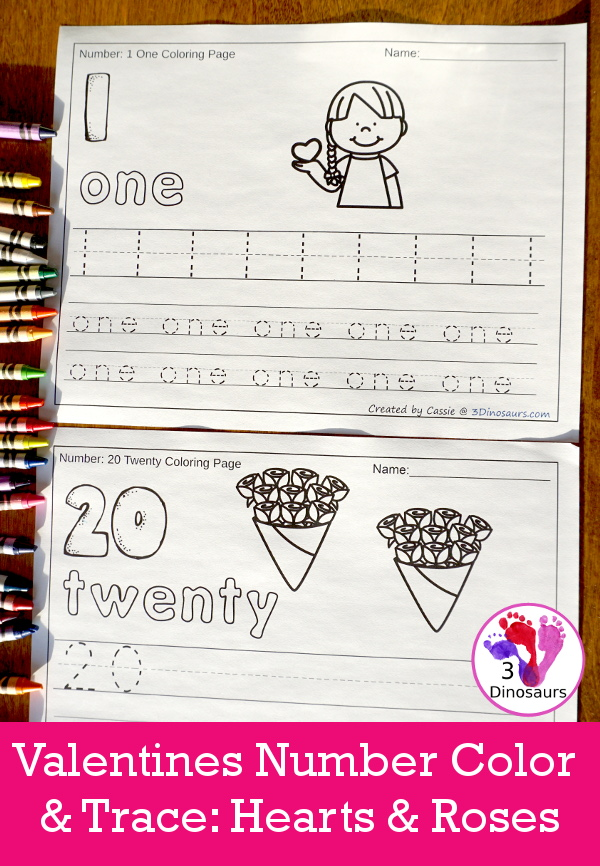 No-Prep Heart & Roses Themed Number Color and Trace - easy no-prep printables with a fun heart theme 44 pages with two options for the numbers tracing or writing $ - 3Dinosaurs.com #noprepprintable #valentinesprintables #numbersforkids