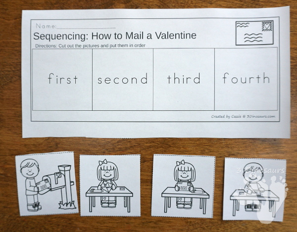 Two Fun Valentines Sequencing Sets: Making a Valentines and How To Mailing a Valentine -  with clip cards, task cards, no-prep worksheets and easy reader books $ - 3Dinosaurs.com #printablesforkids #sequencingforkids  #valetninesprintables #tpt #teacherspayteachers