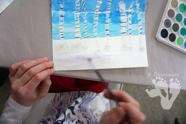 Easy To Paint Watercolor Birch Trees - make fun winter scene with birch trees using oil pastels and watercolors - 3Dinosaurs.com #watercolorforkids #paintingforkids #finemotorskills #winteractivitiesforkids
