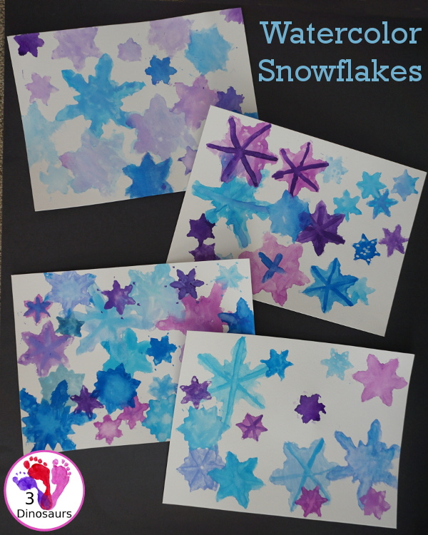 Fun to Make Watercolor Snowflakes - make fun snowflake themed painting using cookies cutters - 3Dinosaurs.com #watercolorforkids #cookiecuttes #paintingforkids #finemotorskills #winteractivitiesforkids