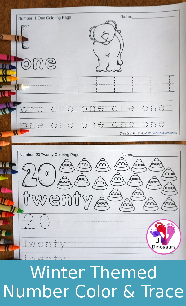 No-Prep Winter Themed Number Color and Trace - easy no-prep printables to work on numbers. Each set has 44 pages with two options for the numbers tracing or writing $ - 3Dinosaurs.com #noprepprintable #winterprintables #numbersforkids