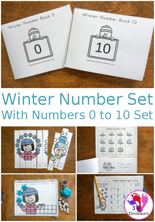 Winter Themed Number Set 1 to 10 - with clip cards, puzzles, no-prep worksheets, easy reader books, playdough mats and more $ - 3Dinosaurs.com #printablesforkids #numbersforkids #handsonlearning #winterprintables #tpt #teacherspayteachers