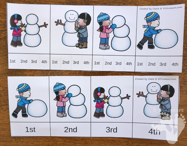 Winter Sequencing Sets -  with clip cards, task cards, no-prep worksheets and easy reader books $ - 3Dinosaurs.com #printablesforkids #sequencingforkids #winterprintables #tpt #teacherspayteachers
