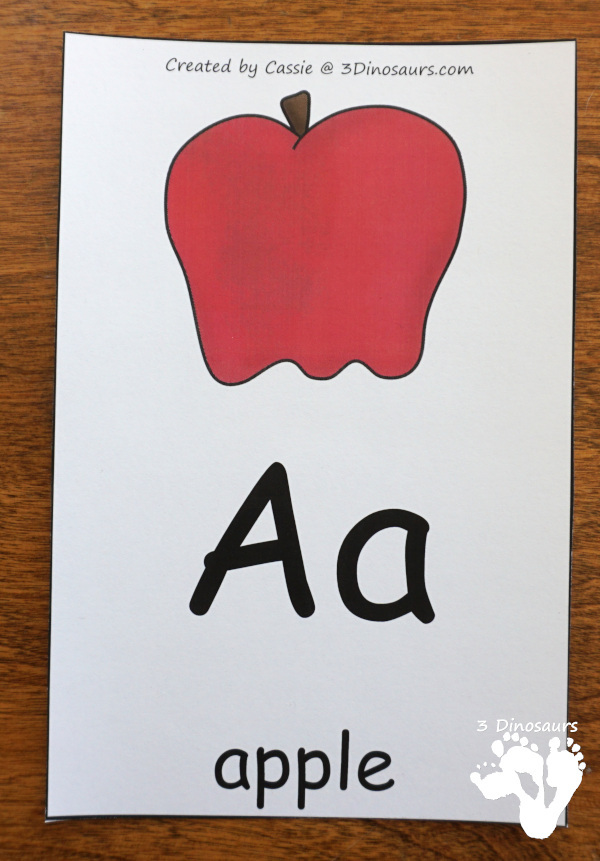 Free ABC Wall Cards - these are great to use with PreK and Kindergarten kids with all 26 letters - 3Dinosaurs.com