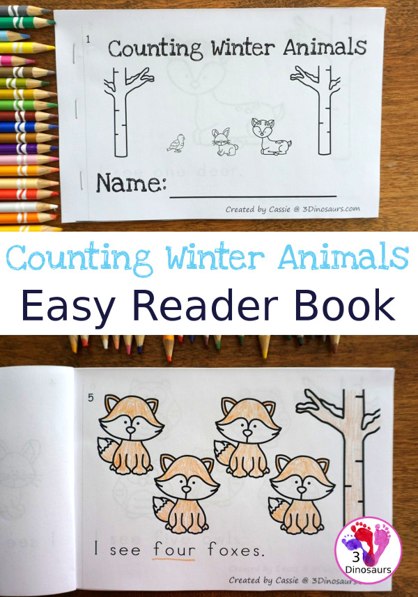 Free Animals in Winter Counting Easy Reader Book - work on numbers 1 to 10 with this simple easy reader book - 3Dinosaurs.com