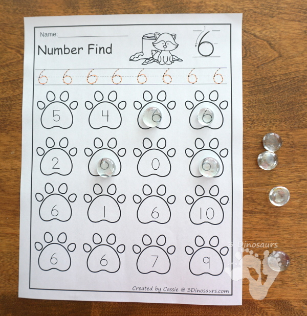 Animals in Winter Number Find - works on number digit and number work with numbers 0 to 20 - 3Dinosaurs.com