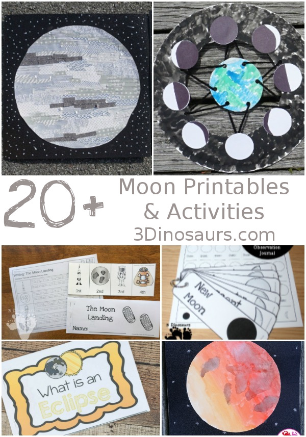 20+ Moon Printables & Activities - fun activities around the moon and lunar eclipse for kids - 3Dinosaurs.com