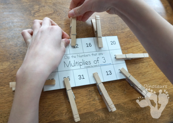 Multiplies of Clip Cards - a fun way to work on multiplication and skip counting numbers with clip cards and recording sheets - 3Dinosaurs.com