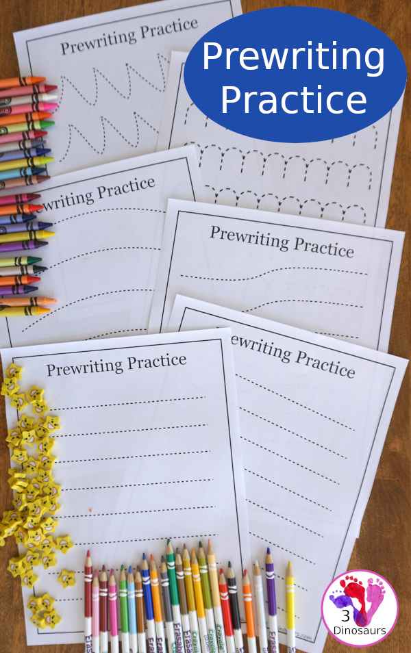Free Prewriting Practice Printables - 14 different pages to work on fine motor skills for PreK and Kindergarten. A no-prep prewriting worksheet  - 3Dinosaurs.com