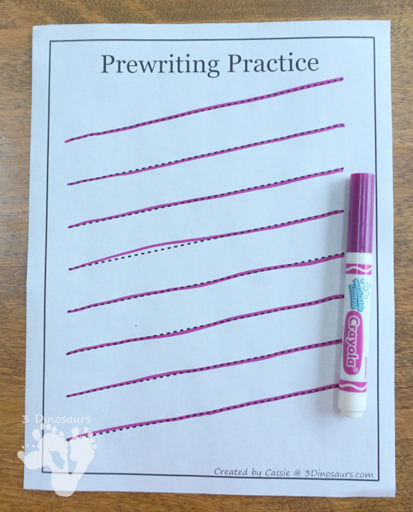 Free Prewriting Practice Printables - use markers for tracing the prewriting lines - 3Dinosaurs.com