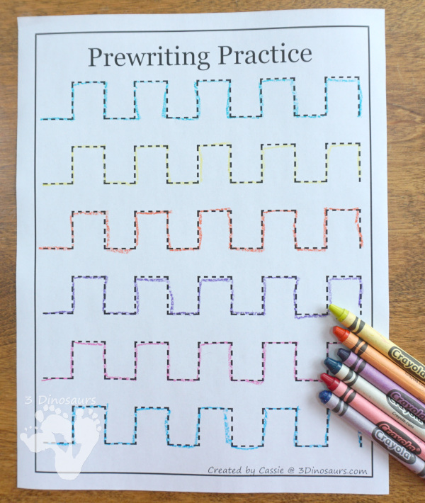 Free Prewriting Practice Printables - use favorite crayon colors to trace the lines - 3Dinosaurs.com
