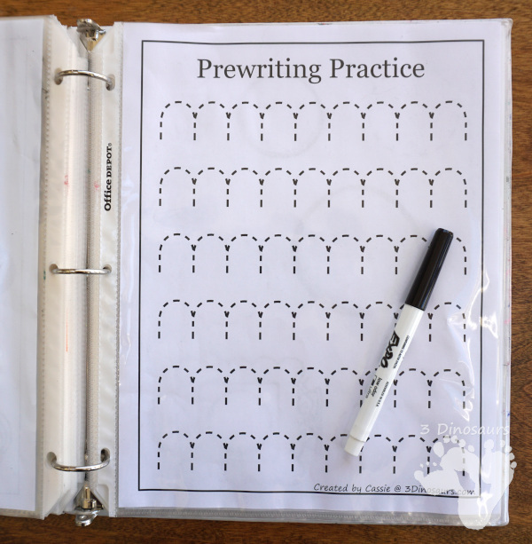 Free Prewriting Practice Printables - reuising pages in sheets protectors to reuse pre-writing pages - 3Dinosaurs.com