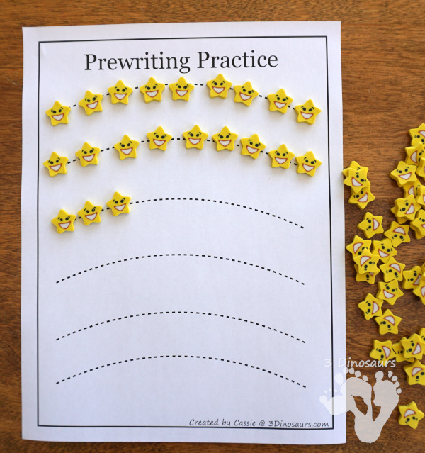 Free Prewriting Practice Printables - using small items on the prewriting lines for kids who don't like writing - 3Dinosaurs.com