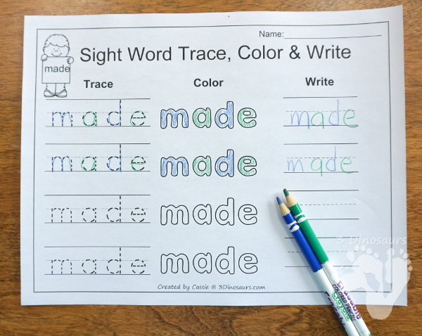 Free Romping & Roaring Second Grade Sight Word Set 6: Made, Many, Off, Or - 3Dinosaurs.com