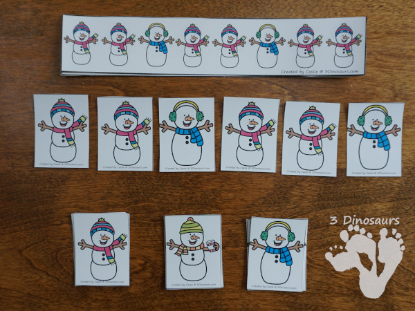 Snowman Themed Pack for PreK and Kindergarten with 150 pages of activities, cards, easy reader books and no-prep printables - 3Dinosaurs.com