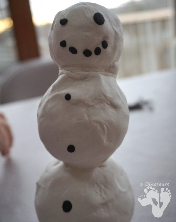 Standing Model Magic Snowman - a fun model magic craft that is great for fine motor and for kids to use in this fun craft - 3Dinosaurs.com