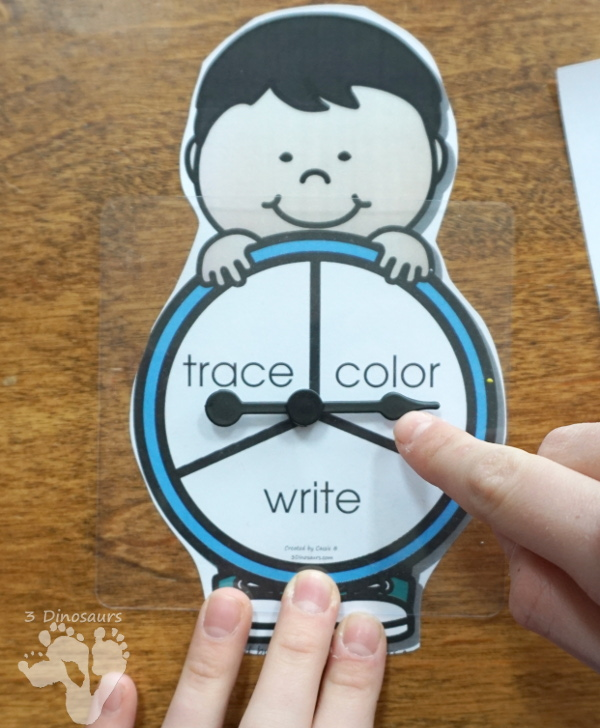 Trace, Color, & Write: ABCs, Numbers & Shapes - easy activities to work on write and drawing for kids. With an interactive element of spinning to see which you do - 3Dinosaurs.com