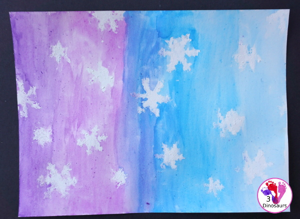 Watercolor & Oil Pastel Snowflakes Painting - easy snowflake painting activity that many different ages can do together - 3Dinosaurs.com