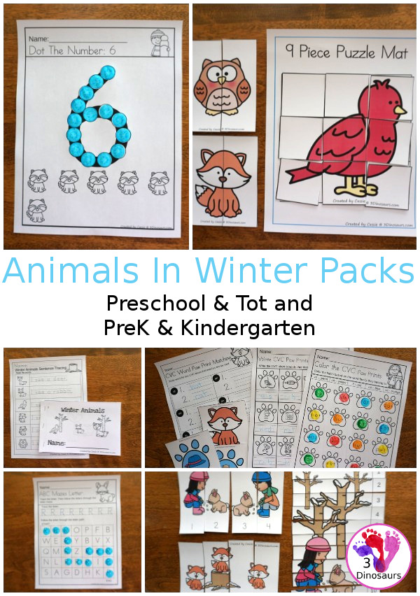 Animals in Winter Packs - Two level of packs: Preschool & Tot and PreK & Kindergarten - with loads of activities that work on abcs, numbers, math counting and more - Each pack has a mix of hands-on and no-prep activities - 3Dinosaurs.com