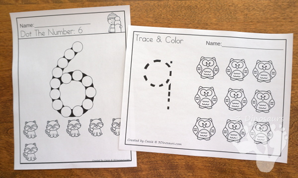 Animals in Winter Packs - Preschool & Tot - with loads of activities that work on abcs, numbers, math counting and more -The pack has a mix of hands-on and no-prep activities - 3Dinosaurs.com