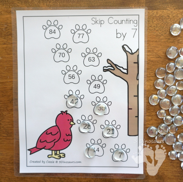 Free Winter Woodland Skip Counting Tracks - Work on skip counting from 1 to 12 with these 12 skip counting sheets - 3Dinosaurs.com