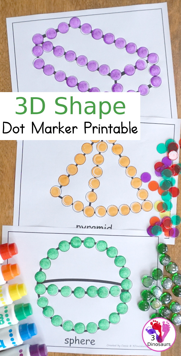 Free 3D Shape Dot Marker Pages - with 7 shapes for kids to work on learning the shape type and names - 3Dinosaurs.com