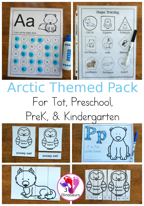 Free Arctic Pack - over 45 pages of activities with 3 part cards, prewriting, beginning math and numbers, abc finds, and more all for tot, preschool, prek and kindergarten age kids - 3Dinosaurs.com