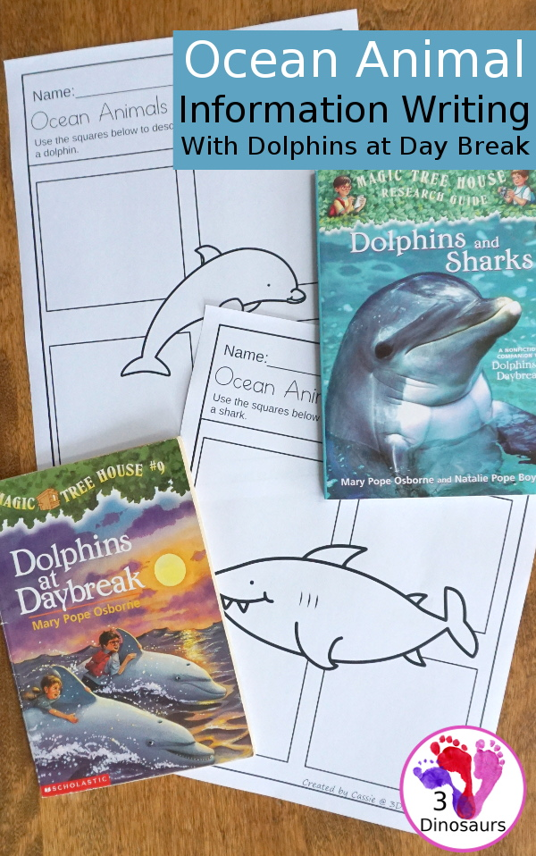 Free Ocean Animals Information Writing with Dolphins at Daybreak- study and learn about 7 ocean animals while reading Dolphins at Daybreak - 3Dinosaurs.com
