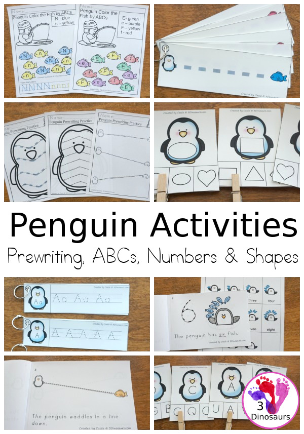 Penguin Activities Pack for Prewriting, Shapes, ABCs, and Numbers - 189 pages of activities with no-prep, easy reader books, clip cards and tracing strips. All to help have fun with a penguin theme during the winter with easy to prepare or low prep activities - 3Dinosaurs.com
