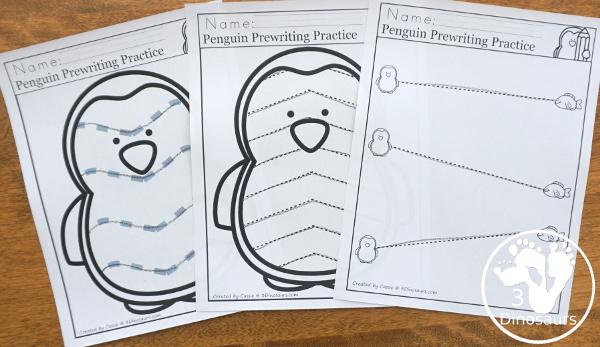 Penguin Activities Pack for Prewriting, Shapes, ABCs, and Numbers - the different types of prewriting pages in the set - 3Dinosaurs.com