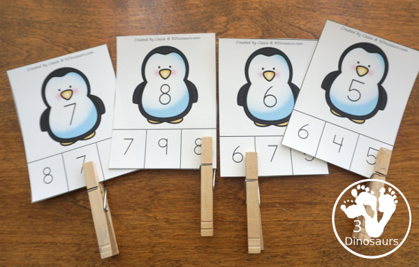 Penguin Activities Pack for Prewriting, Shapes, ABCs, and Numbers - number clip cards to work on numbers 0 to 10 - 3Dinosaurs.com