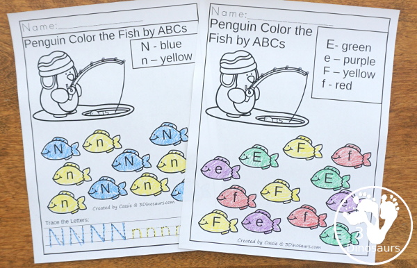 Penguin Activities Pack for Prewriting, Shapes, ABCs, and Numbers - 2 types of no-prep coloring pages for ABCs - 3Dinosaurs.com