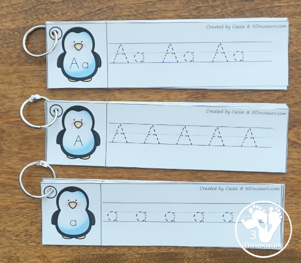 Penguin Activities Pack for Prewriting, Shapes, ABCs, and Numbers - ABC themes tracing strips with three types of tracing options - 3Dinosaurs.com
