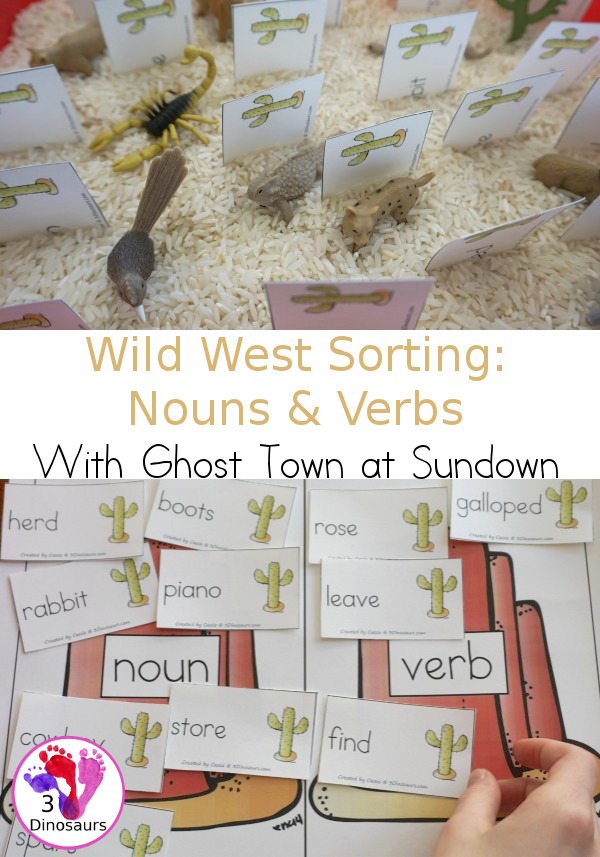 Free Wild West Noun & Verb Sorting with Ghost Town at Sundown - 20 sorting cards for nouns and verbs with sorting mat and writing worksheet - 3Dinosaurs.com
