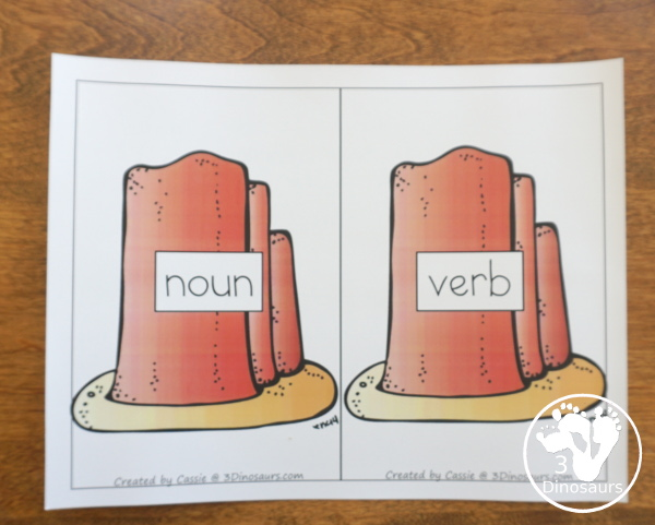 Free Wild West Sorting Nouns & Verbs - with Ghost Town at Sundown - a look at the sorting mat for the nouns and verbs - 3Dinosaurs.com